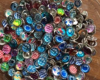 Sale Snap Charms,  10x20 mm  random snaps with NO duplications. Will fit regular 18-20 mm Ginger Snaps Jewelry plus Noosa. Now 75% OFF SALE