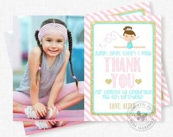 Gymnastic Girls Thank You Card, Photo Thank You Card, Gymnastics Party Thank You Notes, Personalized