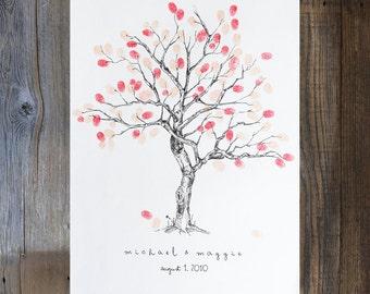 Fingerprint Tree Wedding Guest Book Alternative, custom guest book, Small Cherry Blossom Design (ink pads sold separately) rustic wedding