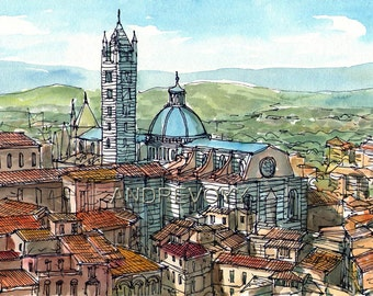 Siena 8, Italy art print from an original watercolor painting