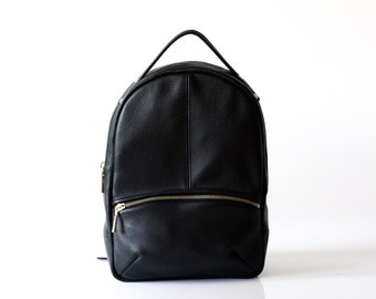 Leather Backpack OPELLE Baby Kanye Back Pack purse in Black Pebbled leather