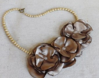 Pearl Necklace with Flower Trio in Taupe Satin
