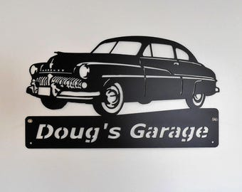 1949 Mercury  Personalized Man Cave Garage Sign Satin Black