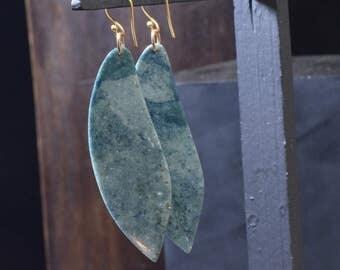Guatemalan Blue Jadeite Earrings