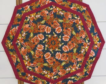 Quilted Kaleidoscope Floral Table topper centerpiece orange roses teal background
