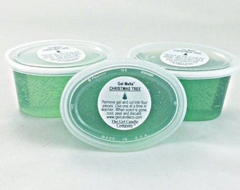 3 Christmas Tree Scented Gel Melts™ for tart warmers & burners hand poured by The Gel Candle Co.™ Peel Melt Enjoy The Aroma FREE SHIPPING