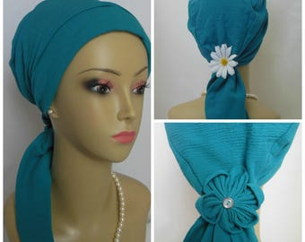 """Gauze Scarf Turban Deep Turquoise Volumizer Chemo Headwear 14"""" Ties, Cancer Patient Hat, Hair Covering, Tichel Mitpachat Head Wrap"""