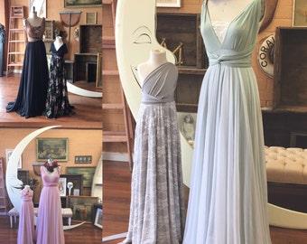 Tulle Full Circle Infinity Convertible Wrap Dress- custom choose fabrics for Bridal, Bridesmaids, prom, maternity, bridesmaids