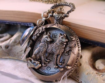 Partners for LIfe, Mated Pair - Call of the Wolf - Steampunk Pocket Watch Necklace - Wolf Pack - Alpha Male - Call of the Wild - C 2-8