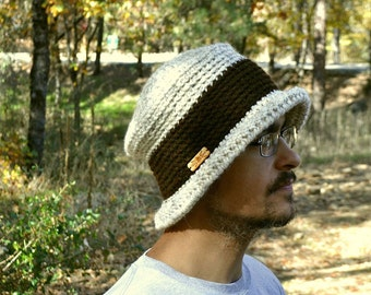 Pork Pie Hat Crochet Knit Bucket Hat Early 90s Style Flat Top Rolled Brim Winter Hat Large More Color Options
