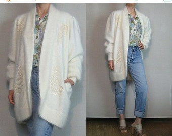 FALL SALE 80s ANGORA Embroidered Feather Vintage White Beaded Rabbit Hair Fur Mutton Sleeve Lined Sweater Jacket Coat Cardigan Small Medium