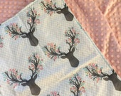 Minky Baby Blanket- Deer Antlers- Woodland Theme- Deer Theme- Crib Bedding