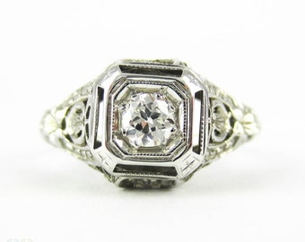 Filigree Diamond Engagement Ring, 1930s Old Cut Diamond Solitaire with Pierced Floral Detail 18ct White Gold Setting.