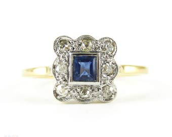 Edwardian Sapphire & Diamond Engagement Ring, Blue Square Step Cut Sapphire in Diamond Halo with Milgrain Edge. Circa 1900, 18ct.