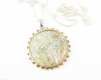 Antique Daisy Pendant, Large Victorian Sterling Silver Flower Necklace. 9ct Rose & Green Gold Overlay. Registration Mark 1880s.