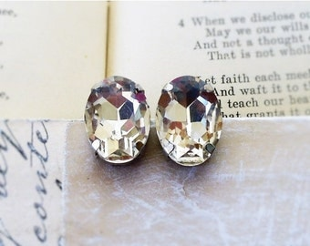On Sale Glacier Ice ,White  Rhinestone , Estate Style ,Crystal Clear Oval Glass Post Earrings by Hollywood Hillbilly