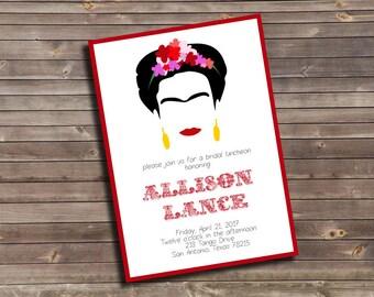 frida kahlo inspired bridal luncheon custom printable invitation