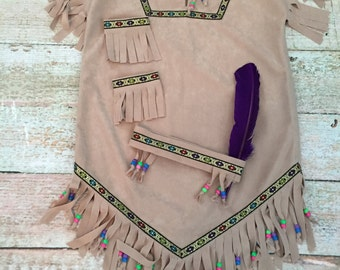 Girl's Native American Indian Inspired Costume, Size 6/8, Ready to Ship