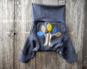 Upcycled  Merino Wool Shorties Soaker Cover Diaper Cover With Added Doubler Charcoal Gray With Tree Applique LARGE 12-24M  Kidsgogreen
