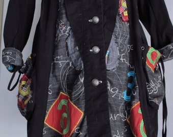 Art-To-Wear Coat Size Small Black Cotton Collage Stitches Patches Drawstring Hem Bubble Coat Artist Wardrobe Women's Christmas Gift!