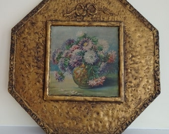 ORNATE Vintage Floral Still Life Print on Carved Wooden Barbola Gesso Plaque - Gorgeous Muted Florentine Style