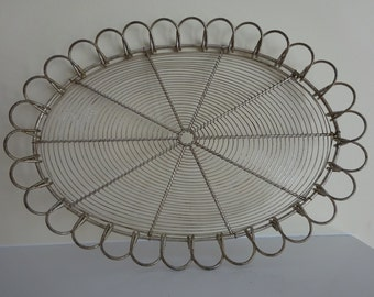 Ornate Vintage Metal Wire Tray - French Farmhouse Style