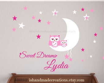 Owl Moon and Stars Wall Decal, Owl with baby  Decal, Owl Moon and Stars   Decal, Sweet Dreams Vinyl Lettering with name Nursery