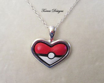 Pokemon Pokeball Heart Shape Necklace Pendant Custom made
