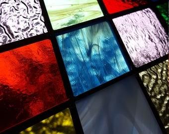 Stained Glass Diamond Panel - Rainbow of Colors Suncatcher Window