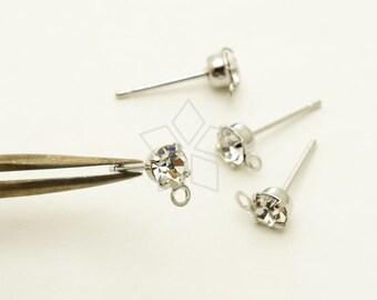 EA-219-OR / 20 Pcs - Clear Crystal Rhinestone Post Earring Findings, Clear Rhinestone Stud Earrings, Silver Plated Brass / 3.8mm