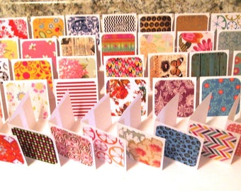 HANDMADE MINI NOTES - 3x3 Variety Pack of 50 folded cards with pretty prints, Gift Tags, Thank You, Thanks for Your Order