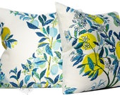 Schumacher Pillow Covers - Citrus Garden by Josef Frank - 20 inch - Set of TWO - Pool - Decorative Pillow Cover  - made to order