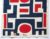 Vintage Vera Neumann Linen Tea Towel - Red Navy Blue White Abstract Geometric - Mid Century Kitchen Decor 1970s - Hand Towel NWT Paper Label