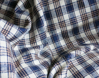 Vintage Linen Fabric - Blue Plaid Upholstery Yardage - Indian Textile - Slubby -  36 In Width 4 Yds 1940s Sateen