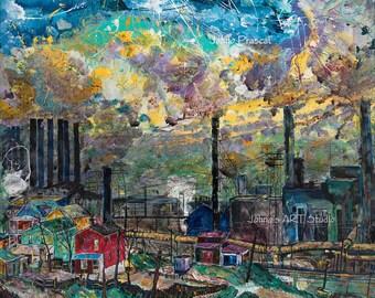 Man cave wall art, Steel Mill art, Pittsburgh Steel Mill, Industrial age art, Johno Prascak, Johnos Art Studio