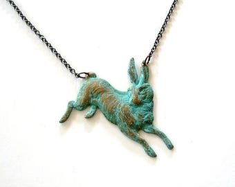 SALE bunny rabbit necklace . Victorian inspired, turquoise green patina rabbit jewelry