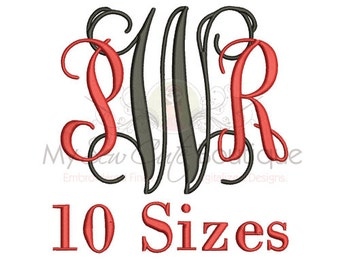 Vine Intertwined Monogram Font - Monogram Embroidery Font - BX Embroidery Font Included - 10 Sizes - Instant Download