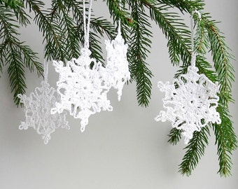 Christmas tree decorations - crochet snowflake ornaments - holiday ornaments - Christmas ornament - Christmas tree decor - set of 6  ~3.4 in