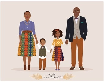 Custom Family Portrait, personalized family  illustration