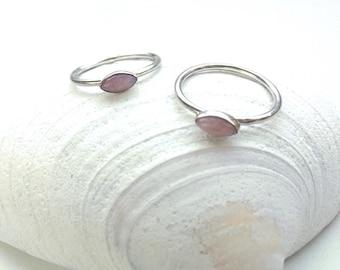Rose Quartz Sterling Silver Stacking Ring // Pink Dainty Gemstone Rings // Love Stone // Birthday Gift October birthstone