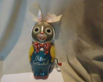 Vintage 1953 Metal or Tin Peter Cottontail Wind-Up Musical Bunny Rabbit Toy by Mattel, NOT WORKING,  collectable