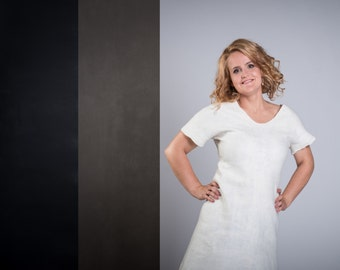 White felt dress, merino wool dress, warm dress, white wool dress, UNIQUE dress, Fashion dress