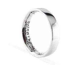 Man Gold Ring Seize the Day Ring 14k White Gold Wedding Band Set