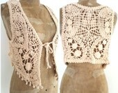 Hippie Crochet Vest Cotton Yarn Bohemian Style Medium Sized Vintage Cutie Great with Skirts and Layers