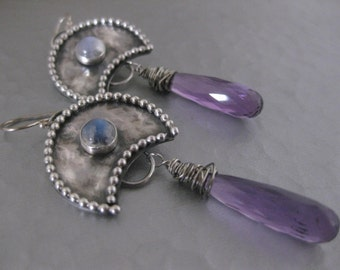Amethyst and Moonstone Sterling Silver Dangle Earrings
