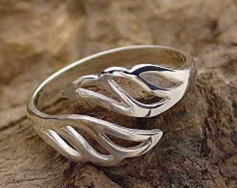 Sterling Silver Wing Ring, Adjustable Ring, Wing Ring, Sterling Silver Rings, Silver Wing Ring, Sterling Wrap Ring, Adjustable Wing Ring