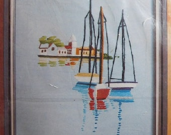 Boats Vintage 1974 Pauline Denham Sailboats Harbor Yarn Crewel Embroidery Picture Craft Kit, New/Old in Pkg