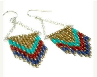 Sale| Chevron Beaded Dangle Earrings, Southwest, Sterling Silver, Handmade, Fringe Earrings, Boho, Hippie, Seed Bead, Multicolor - Multi Col