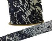Vintage Ribbon, Blue Floral Batik Tiki Group II, WFR RIbbons, Tropical Floral Design, Wide for Trim, Gift Wrap, Embellishment 5 yard lengths
