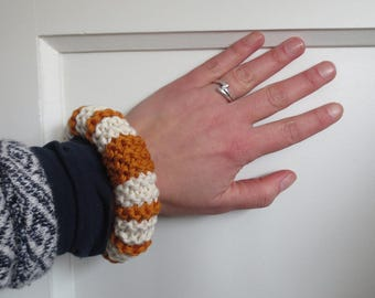 NEW: Knitted cotton bracelet in copper orange and off-white - navy stripes - marine look - own design